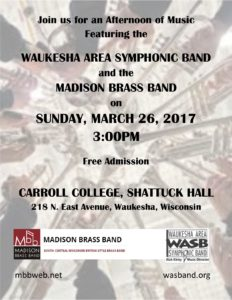 Joint Concert with the Waukesha Area Symphonic Band @ Shattuck Auditorium, Carrol College, | Waukesha | Wisconsin | United States